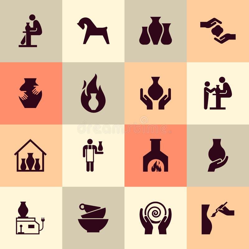 Produits en céramique dans l'ensemble d'icône dans le style plat Pour le site Web, la copie, la décoration ou autre vous idées illustration libre de droits