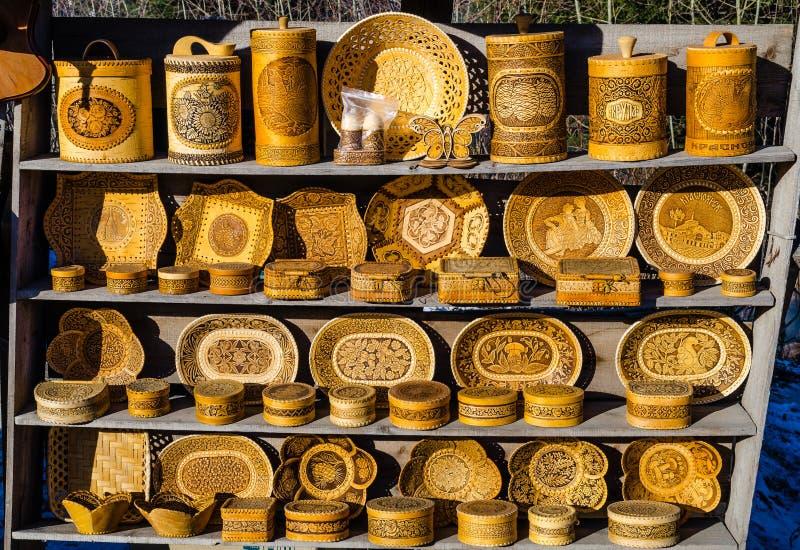 Produits faits en écorce de bouleau images stock