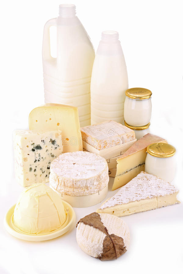 Produits laitiers d'isolement photo stock