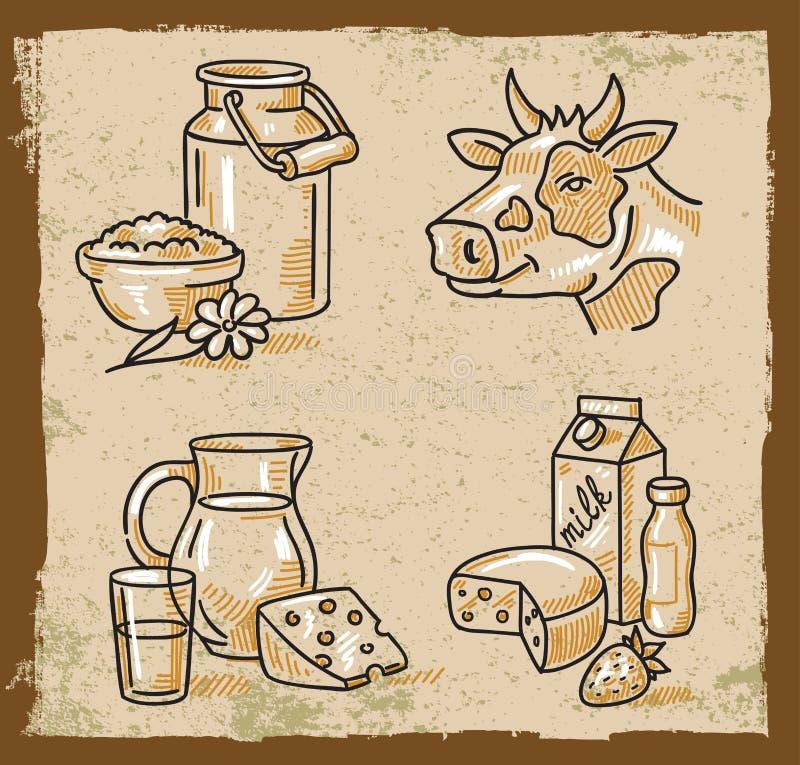 Produits laitiers de vecteur illustration stock