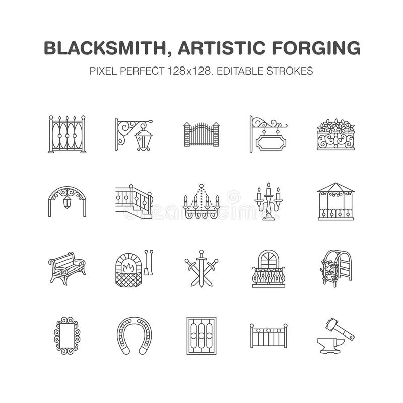 Produits métalliques forgés, ligne plate icônes de vecteur artistique de pièce forgéee Forgeron, barrière de fenêtre, porte, balu illustration libre de droits