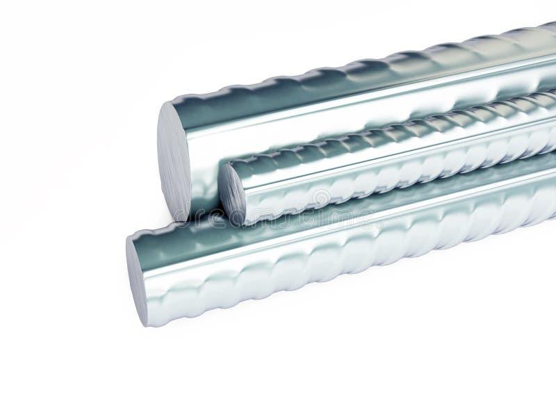 Produits métalliques roulés sur un fond blanc illustration de vecteur