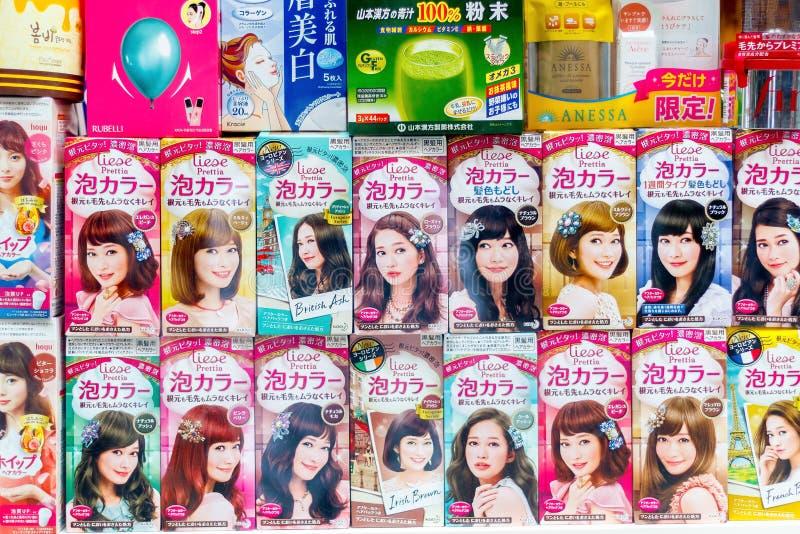 Produits mousseux japonais de teinture capillaire de bulle sur l'affichage dans le Chi de Londres image libre de droits