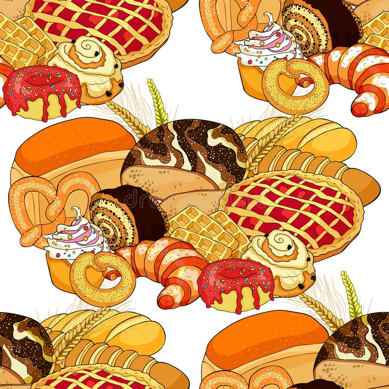 Produits sans couture de boulangerie de modèle dans l'assortiment Illus de vecteur illustration de vecteur