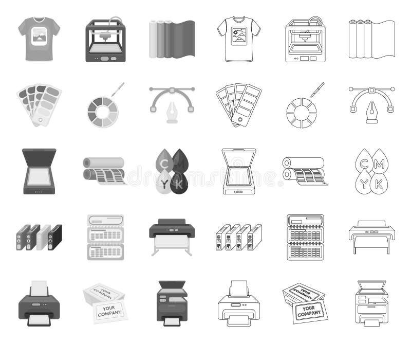 Produits typographiques mono, icônes d'ensemble dans la collection réglée pour la conception Impression et Web d'actions de symbo illustration stock