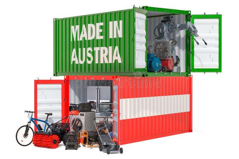 Produkcja i wysyłka elektroniczny i urządzenia od Austria, 3D rendering ilustracja wektor