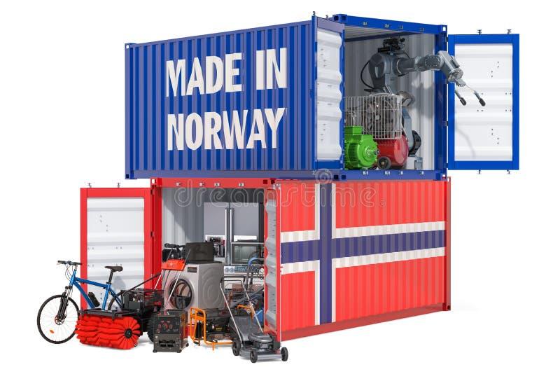 Produkcja i wysyłka elektroniczny i urządzenia od Norwegia, 3D rendering ilustracja wektor