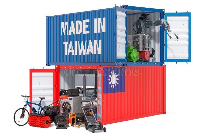Produkcja i wysyłka elektroniczny i urządzenia od Tajwan, 3D rendering ilustracji