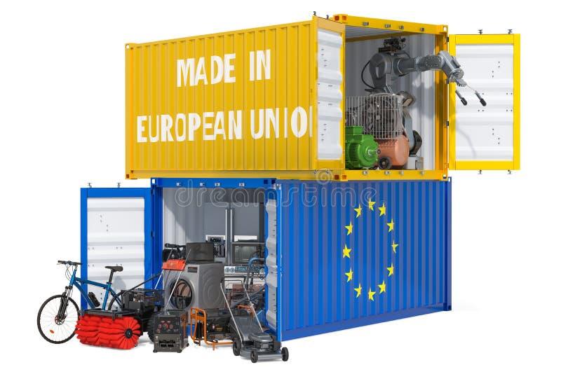 Produkcja i wysyłka elektroniczny i urządzenia od unii europejskiej, 3D rendering ilustracja wektor
