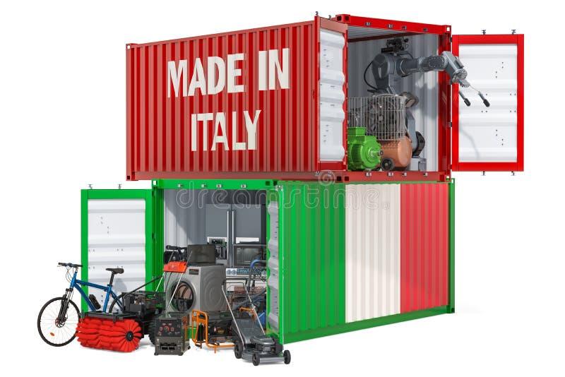 Produkcja i wysyłka elektroniczny i urządzenia od Włochy, 3D rendering ilustracja wektor