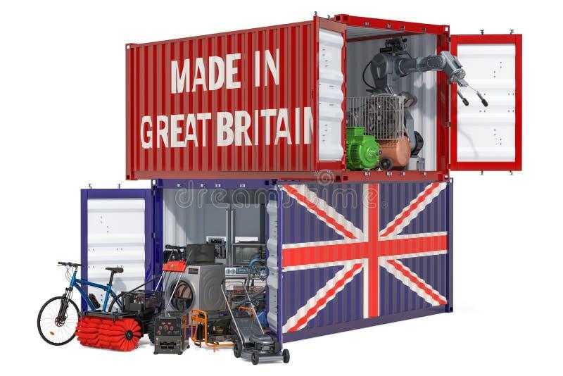 Produkcja i wysyłka elektroniczny i urządzenia od Wielkiego Brytania, 3D rendering ilustracja wektor