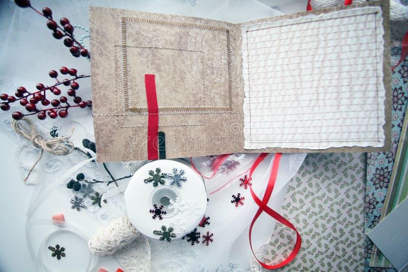 Produkcja kartki bożonarodzeniowa scrapbooking obrazy royalty free