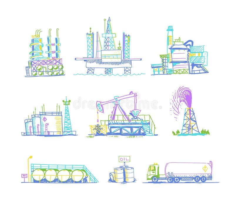 Produkcja, magazyn nafciani transportów rysunki ilustracja wektor