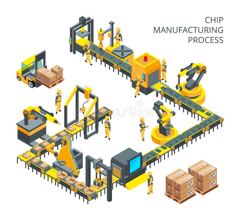 Produkcja przemysłowa komputerowe części Maszynerii narzędzia dla automatyzacja procesów ilustracji