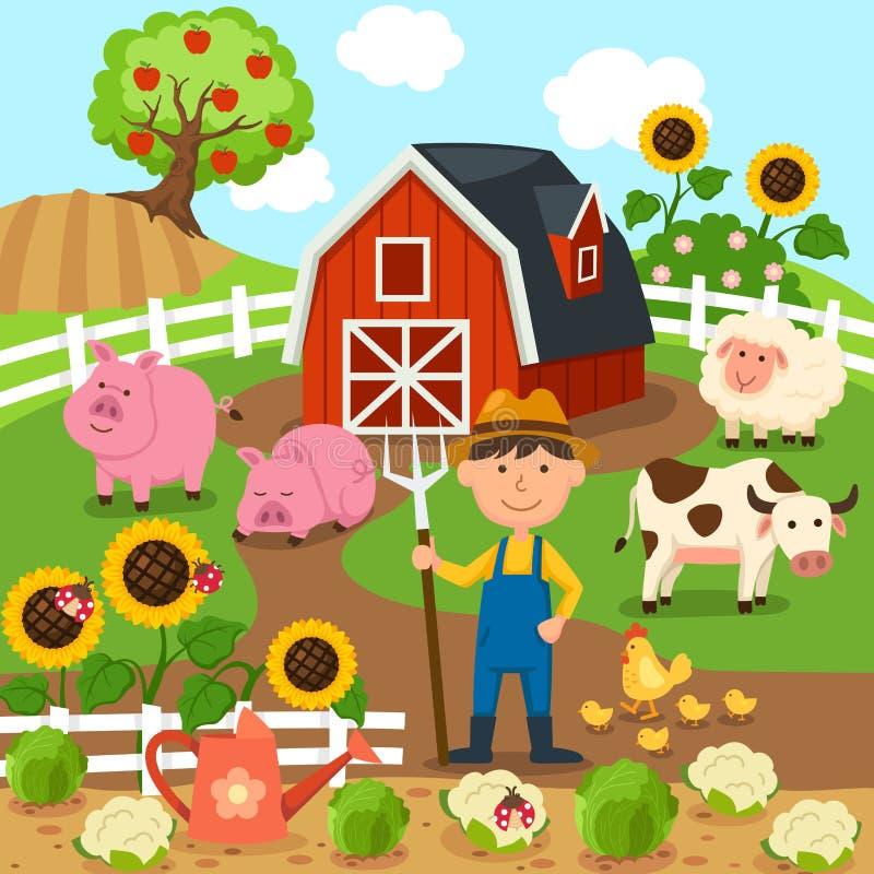 Produkcja rolna, wiejski krajobraz ilustracja royalty ilustracja