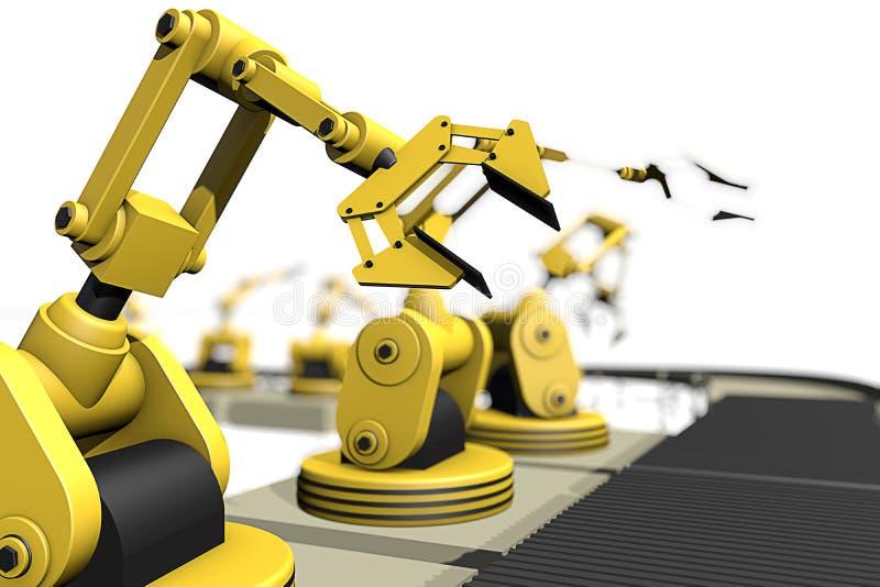 Produkcja w linii z robot rękami ilustracja wektor
