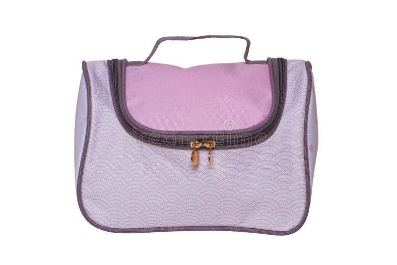 produktów kosmetycznych Zbliżenie piękna różowa kosmetyka makijażu torba z rękojeścią odizolowywającą na białym tle obrazy royalty free