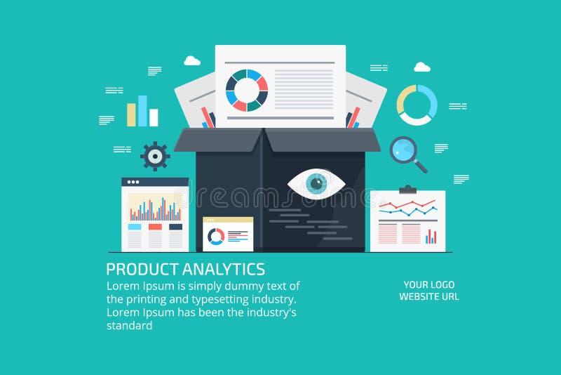 Produkt analityka, marketingowi dane i informacja, badanie, rozwój, członowości pojęcie Płaski projekta wektoru sztandar ilustracja wektor