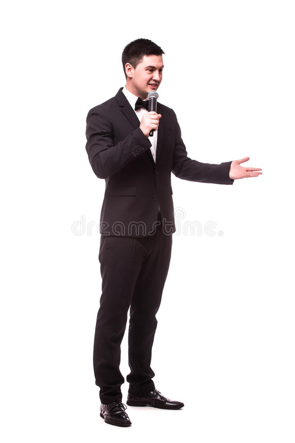 Produkt eller advertizing för ung impressariogåva osynlig med mikrofonen arkivbilder
