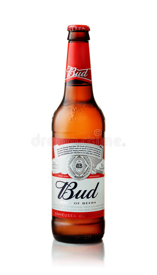 Produkt som skjutas av den Budweiser ölflaskan royaltyfria bilder
