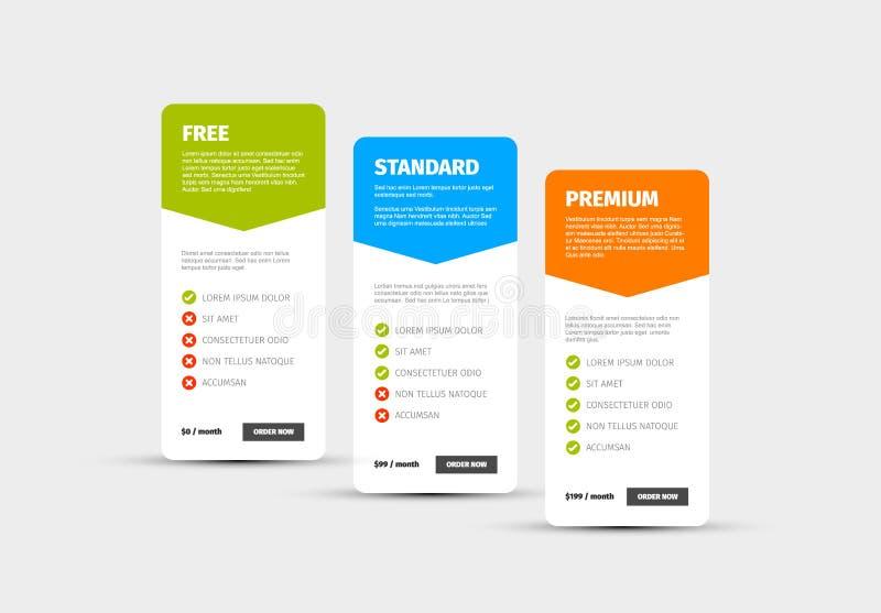 Produkt/tabell för serviceprisjämförelse stock illustrationer