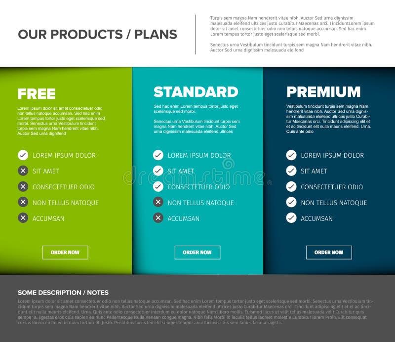 Produkt/tabell för serviceprisjämförelse royaltyfri illustrationer