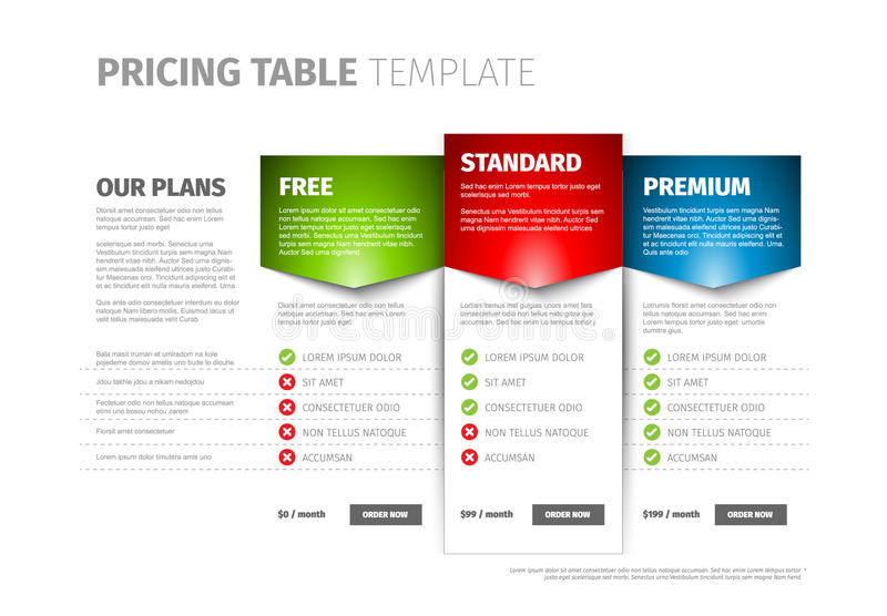 Produkt/tabell för serviceprissättningjämförelse royaltyfri illustrationer