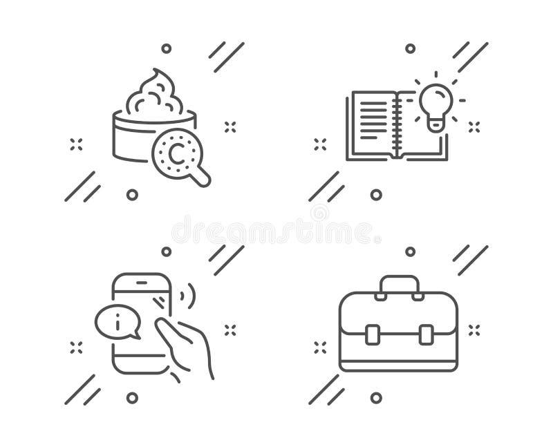 Produkt wiedza, kolagen skóra i centrum telefoniczne ikony ustawiać, Portfolio znak wektor ilustracji