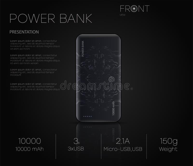 Produktdarstellung Liegt realistische Bank der schwarzen Energie der Vektorillustrationsshows auf einem schwarzen Hintergrund vektor abbildung