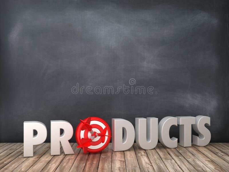 PRODUKTE 3D Wort mit Ziel auf Tafel-Hintergrund stock abbildung