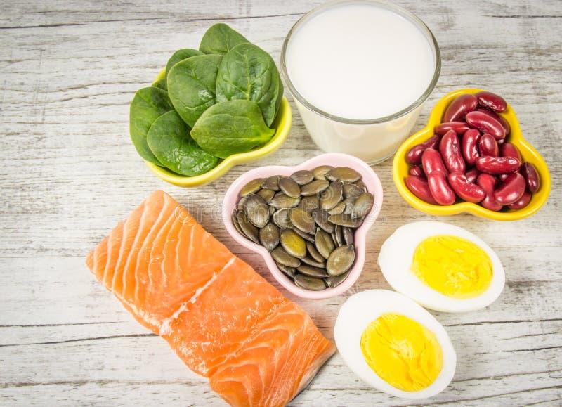 Produkte, die viel Vitamin D enthalten Abschluss oben lizenzfreies stockbild