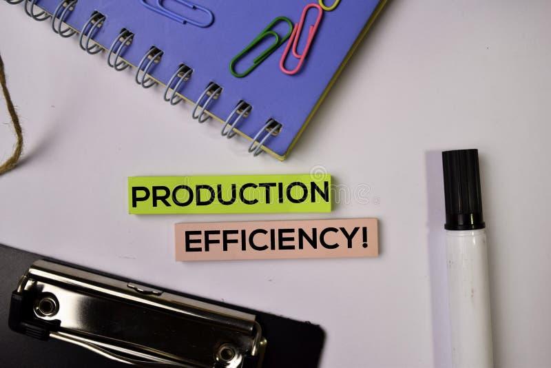 Produkteffektivitet! på klibbiga anmärkningar som isoleras på vit bakgrund arkivfoto