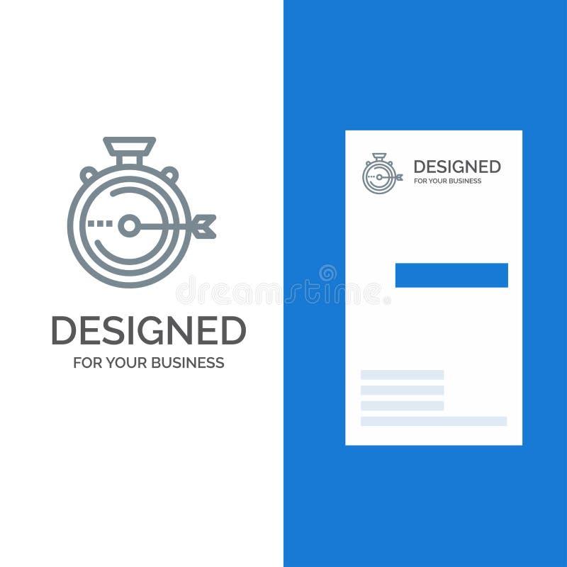 Produkteinführung, Management, Optimierung, Freigabe, Stoppuhr Grey Logo Design und Visitenkarte-Schablone stock abbildung