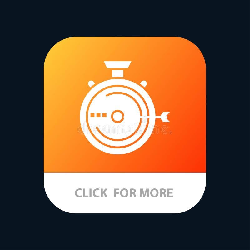 Produkteinführung, Management, Optimierung, Freigabe, Stoppuhr mobiler App-Knopf Android und IOS-Glyph-Version vektor abbildung