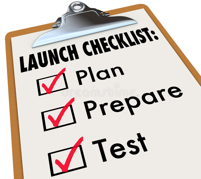 Produkteinführungs-Checklisten-Plan bereiten Test-neues Produkt-Geschäft vor stock abbildung