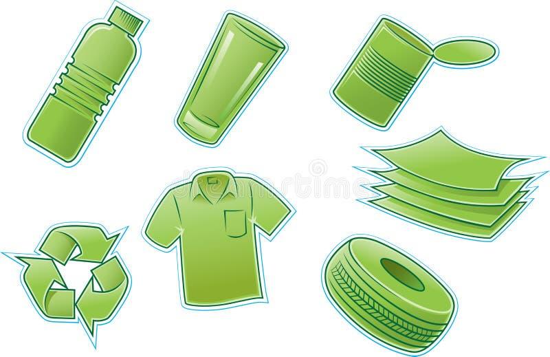 produkter återanvänder royaltyfri illustrationer