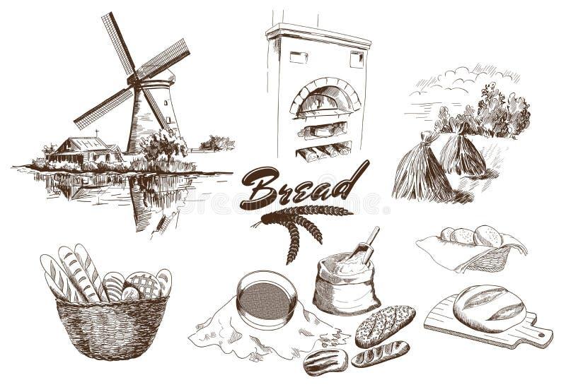 produkter för bageridesignbild royaltyfri illustrationer