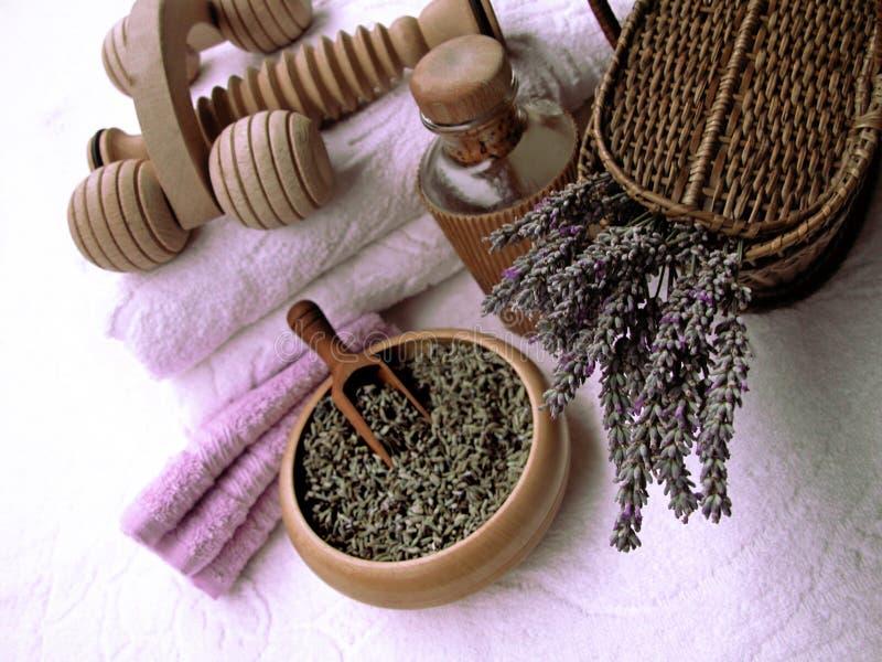 produkter för lavendel för sammansättning för skönhethuvuddelomsorg arkivbild