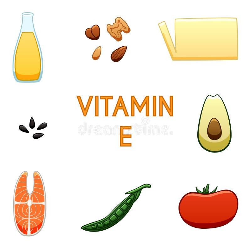 Produkter för vitamin E royaltyfri illustrationer