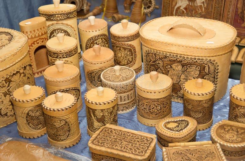 Produkter från björkskäll royaltyfri fotografi
