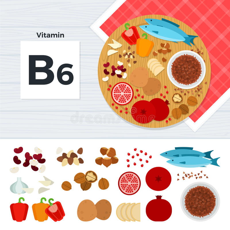 Produkter med vitaminet B6 vektor illustrationer