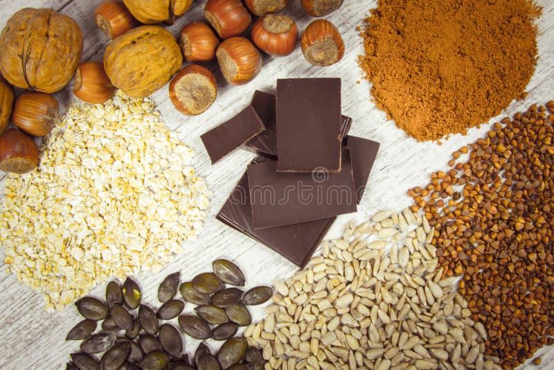 Produkter som innehåller magnesium sund mat arkivfoton