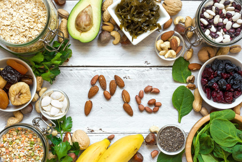 Produkter som innehåller magnesium sund mat arkivfoto