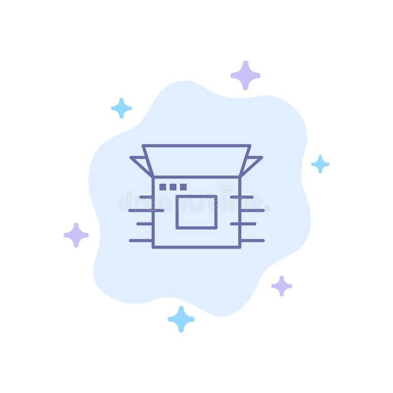Produktfrigörare, affär som är modern, produkt, blå symbol för frigörare på abstrakt molnbakgrund vektor illustrationer