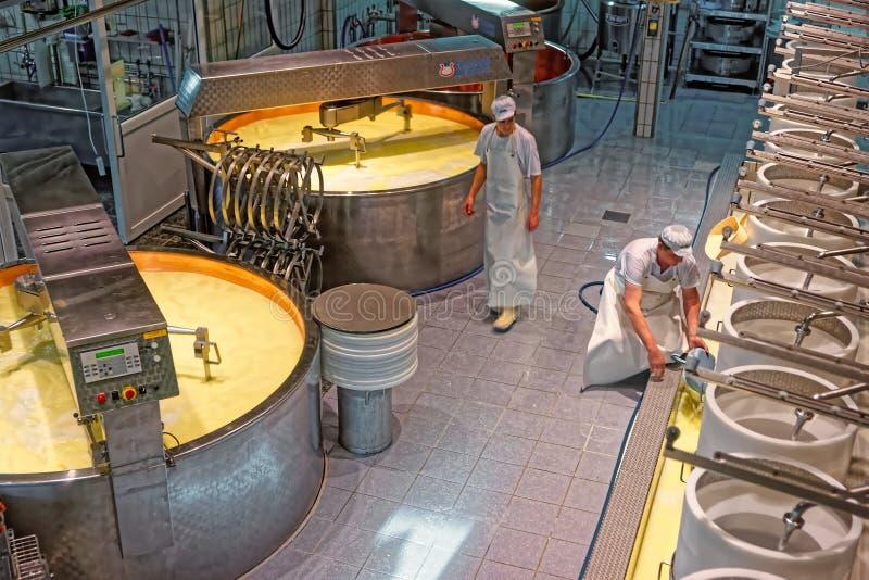 Produktion av Gruyereost på dendanande fabriken av Gru arkivbild