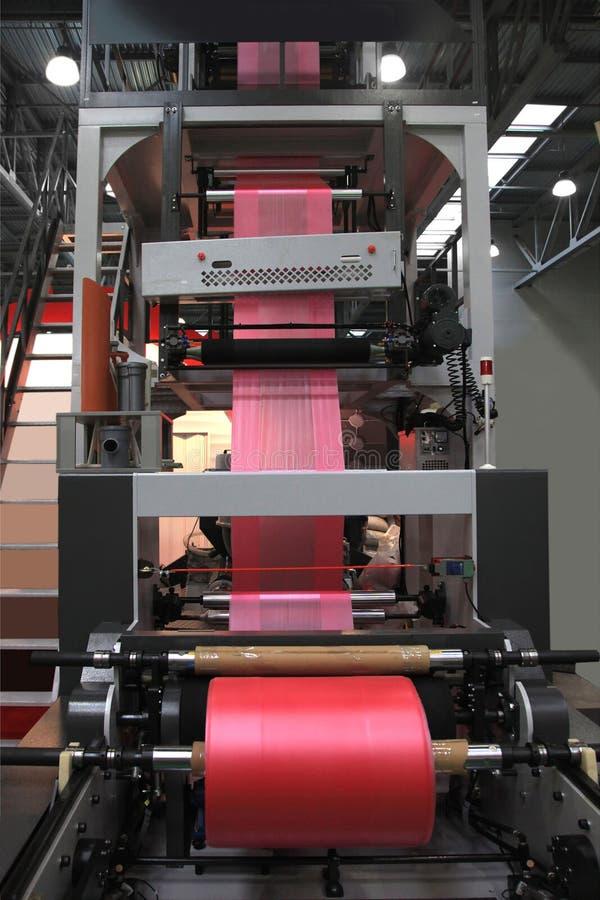 Produktion av plastpåsar arkivbilder
