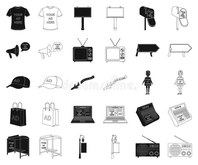 Produktion der Werbung des Schwarzen, Entwurfsikonen in gesetzter Sammlung für Entwurf r vektor abbildung