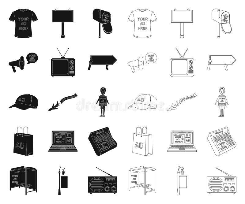 Produktion der Werbung des Schwarzen, Entwurfsikonen in gesetzter Sammlung für Entwurf r lizenzfreie abbildung