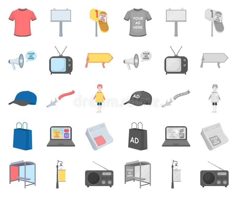 Produktion der Werbungskarikatur, Monoikonen in gesetzter Sammlung für Entwurf Werbungsausrüstungsvektorsymbol-Vorratnetz vektor abbildung
