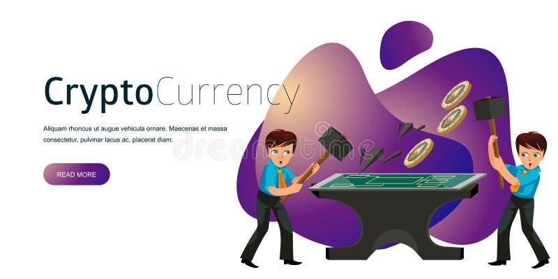 Produktion des flachen Plakats Schlüsselwährung Ethereum stock abbildung